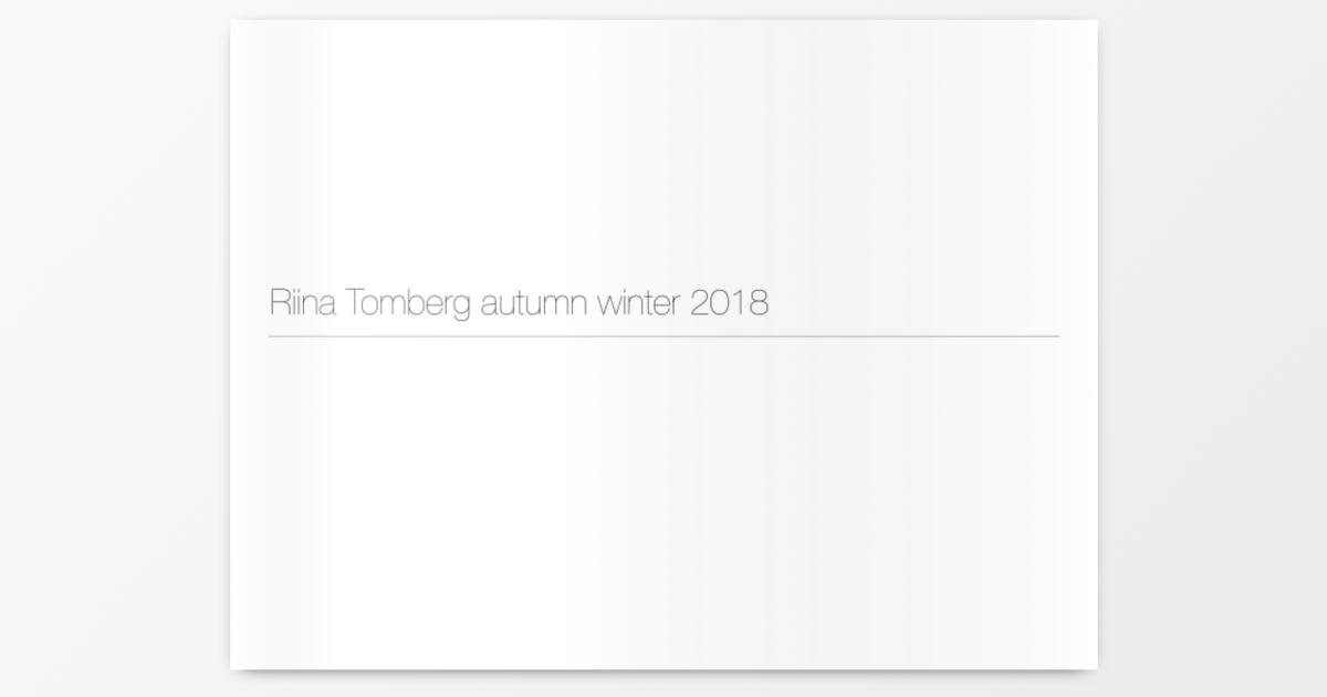 Riina Tombergs Herbstkollektion 2018